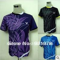 wholesale!free shipping 2013 Victory men's table tennis clothing/badminton game T-shirt new Blue/Black/Purple