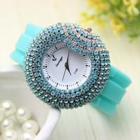 3 colors New Fashion Silicone watch women rhinestone watches for women dress watch quartz watch 1pcs/lot