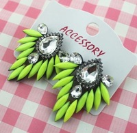 Free shipping(mix color) 2013 design shourouk style Fluorescence color Earrings for women hot sale