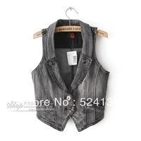 2013 Denim vest Women summer thin fashion waistcoat small vest short jacket top