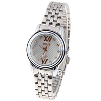 Free shipping MIKE Women's Watch with Diamonds Dots and 2 Roman Numbers Hours Marks Round Dial Steel Band - White