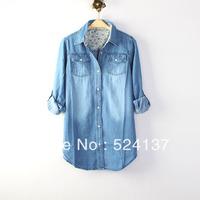 2013 all-match fashion vintage classic nostalgic water wash denim women's shirt outerwear female top