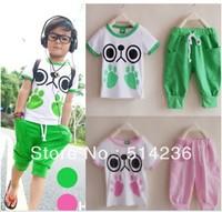 2013 HOT SALES baby boy girl summer short sleeve cartoon suit children summer set shirt + pant 5set/lot blue pink free shipping