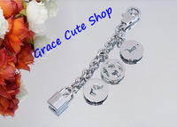 Free Shipping Fashion Bag Charms Keychain Classic Famous Logo Drop Ornament High Quality Original Package #HK13-Silver