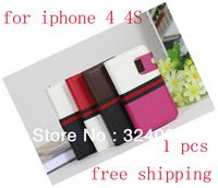 Free Shipping Superior Luxury Pu Leather Case Cover For IPhone 4 4S Phone, Deluxe Leather Wallet Card Pouch Case ,MOQ 1pcs