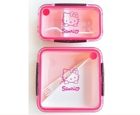 free shipping 2 designs eco-friendly plastic hello kitty lunch box food storage cartoon Picnic box pp food container