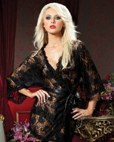Hot Women Sexy lingerie black long sleeve see through lace babydoll sleepwear underwear wholesale/retail
