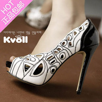 Kvoll sexy platform sandals ol high-heeled shoes open toe cutout sandals ultra-high
