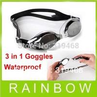 200pcs/lot RA 3 Sets Swimming Swim Waterproof Anti-fog antifog Goggles Glasses For Water Swimming Goggles 5 Colors Free Shipping