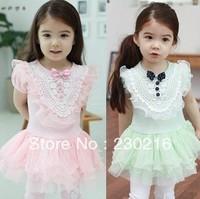 children clothing Girls Dress,kids girls pink and green Hollow flower Duolei Si princess dress .4pcs/lot