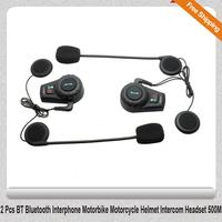 Free Shipping!!2 Pcs BT Bluetooth Interphone Motorbike Motorcycle Helmet Intercom Headset 500M