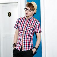 Bin . s.t 13 male short-sleeve shirt british style plaid men b-1301 all-match fashion