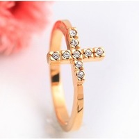 Min.order is $10 (mix order) Korean fashion cheap woman's jewelry Golden Cross Rhinestone Ring T3016