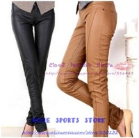 2013 new arrival fashion women's PU Leather Skinny pencil pants elastic leggings casual elegant slim quality brand trousers