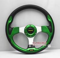 Free Shipping,MOMO PU 13 inches , Sport Steering Wheel for Modified Car,racing wheel  green,CC099 ,Steering Wheel
