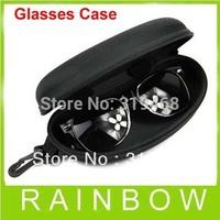 50pcs/lot Black Zipper Clam Shell Hard Case Box Eyeglass Sunglass Sunglasses Keychin Optical Pouch Bag Key Chian Free Shipping