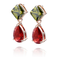 Wholesale price 18K CC color Gold plated Rhinestone Crystal Color zircon earrings.Factory price.