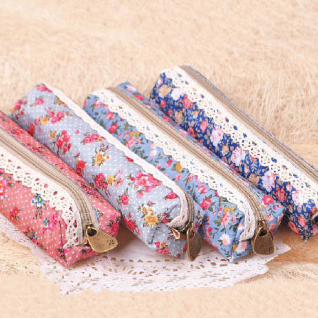 Retro Lace Fabric Pencil Box Case Bag 8pcs/lot Zipper Korean Pen Cases for School Kids Fashion Floral Organizer Cosmetic Pouch(China (Mainland))