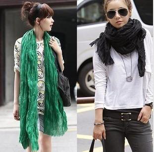 solid color bali yarn scarf plain color viscose viskose pleated muffler scarf women's silk scarf large scarf(China (Mainland))