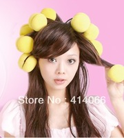 Free shipping 2set(6pc/set  )Magic beauty yellow  curly hair ball sponge kinkiness ball pear hair roller 0910#
