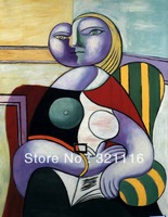 "Free Shipping!Lecture,Woman Reading  , 100% Handmade Abstract  Canvas Oil Painting By Pablo Picasso( 20x24"")YCF102806"