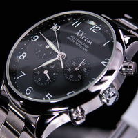 Free Shipping full steel strip needle multifunctional male watch black