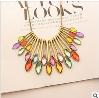 Candy color necklace female bohemia seven multicolour crystal gem necklace fashion decoration