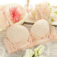 Supports 1015 Sweet women's underwear brief young girl bra set thickening thin lace bra