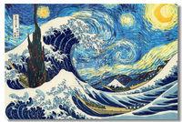The Great Wave Katsushika Hokusai Silk Wall Poster 48x32,36x24,30x20,20x12 inch Big Art Prints Vincent The Starry Night (017)