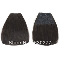 Queen Remy Clip in Hiar Extension Bangs for Women,#1b,Yaki Straight