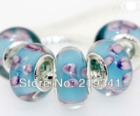 Wholesale Lots! Factory Price! 5 x Pieces 925 silver stamped core 4.5mm hole European Glass Beads Fit Bracelet TSH074
