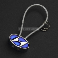 New Metal 3D Car Logo Keyring Steel Wire Keychain Auto Emblem Key Chain Vehicle Badge Keyfobs w/ Rope Gift Box for HYUNDAI