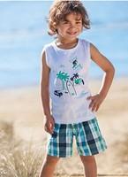 wholesale 2013 summer kids clothing set boys 2pcs lanscape print sleeveless tops shirt+plaid shorts pant 5sets/lot