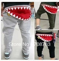 1pcs retails Red Zipper Mouth Shark Teeth Eyes Korea Style Clothing Harem Pants Sport Trousers For  Children Girls Boys