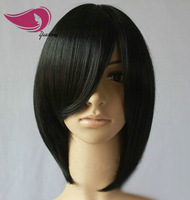 2013 Fashion Short Synthetic Black Lace Net Wig Black with Bang,Can Be Shipped Again Free shipping