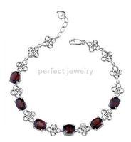 Garnet chain bracelet  Red garnet Free shipping Chain bracelet Natural garnet 925 sterling silver Fine jewelry SMT#071704