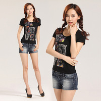 2013 summer plus size fashion short-sleeve slim women's T-shirt miusol k0079