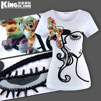 Classical beauty stereo disk flowers all-match cartoon short-sleeve o-neck medium-long t-shirt white plus size clothing