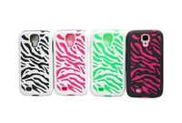 30pcs/lot 2 in 1 pc+silicone Zebra Stripes Cover Hybird Case For Samsung Galaxy S4 i9500 shockproof Cover Case For Galaxy S4
