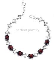 Free shipping Chain bracelet Natural garnet 925 silver ,plate 18k white gold Wholesale SMT#071703