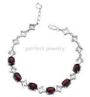 Free shipping Chain bracelet Natural garnet 925 silver plated 18k white gold Wholesale SMT#071703