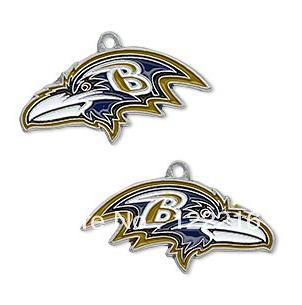 free shipping 10pcs a lot enamel antique silver left and right facing Baltimore Ravens charms Jewelry