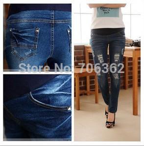 free ship 2012 ssummer adjustable blue hold  maternity skinny jeans pregant woman pants abdominal pencil pants belly pants