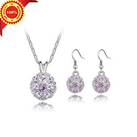 The Crystal Ball Design Crystal Pendant Necklace Fashion Jewelry Sets for Women with Gifts Box Free Shipping