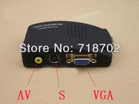 Free shipping 1pcs AV/S Video To VGA TV CCTV BNC/RCA S-Video AV to VGA Converter Adapter Converter