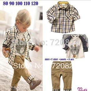 5Sets/Lot Boys Plaid Shirt Set 3pcs Fashion Boys 2014 Autumn/Spring Set boys brand clothing set roupa infantil