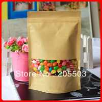 Rectangle windows  brown Kraft Paper Bag ,zipper lock bag ,stand up bag 140*210mm (accept customization )2100pcs /carton
