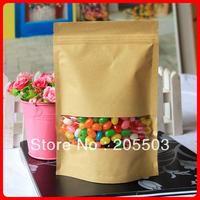 Rectangle windows  brown Kraft Paper Bag ,zipper lock bag ,stand up bag 140*210mm (accept customization )2100pcs /carton