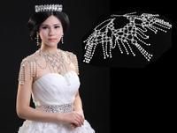 2013 Luxury Crystal Wedding Jewelry Set Rhinestone Pearl Bridal Shoulder Chain & Earring Drop Shoulder Strap Necklace TSJ0003