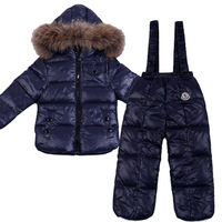 Blue male girls clothing set down coat down coat suspenders down pants baby winter 2012 duck down service